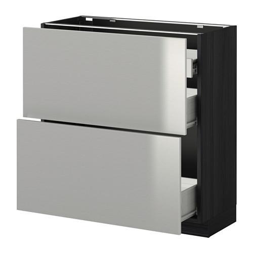 VERFAHREN / FORVARA Nap Schrank 2 FRNT PNL / 1nizk / 2sr Schubladen - Holz schwarz, Grevsta Edelstahl, 80x37 cm