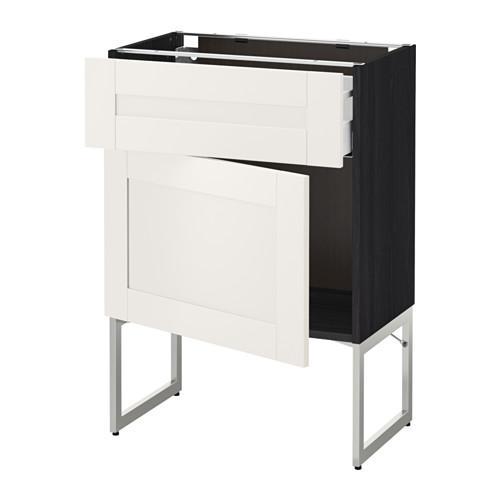 МЕТОД / МАКСИМЕРА Напольный шкаф с ящиком/дверью - 60x37x60 см, Сэведаль белый, под дерево черный