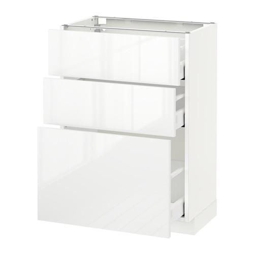 МЕТОД / МАКСИМЕРА Напольный шкаф с 3 ящиками - 60x37 см, Рингульт глянцевый белый, белый