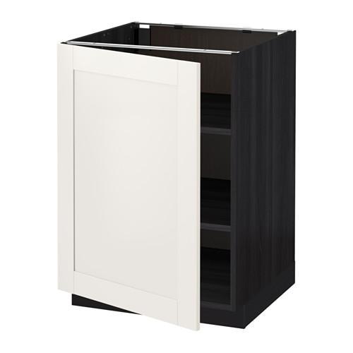 МЕТОД Напольный шкаф с полками - 60x60 см, Сэведаль белый, под дерево черный