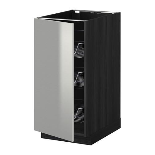 МЕТОД Напольный шкаф с проволочн ящиками - 40x60 см, Гревста нержавеющ сталь, под дерево черный