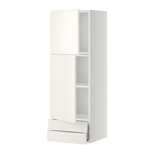МЕТОД / МАКСИМЕРА Навесной шкаф/2дверцы/2ящика - 40x120 см, Веддинге белый, белый