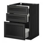 МЕТОД / ФОРВАРА Напольный шкаф с 3 ящиками - 60x60 см, Лаксарби черно-коричневый, под дерево черный