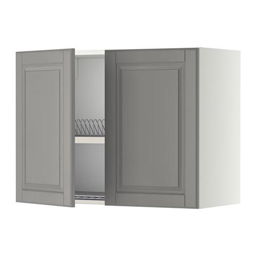 МЕТОД Навесной шкаф с посуд суш/2 дврц - 80x60 см, Будбин серый, белый