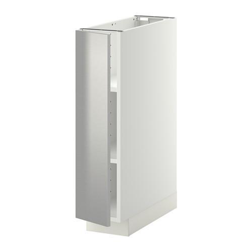 МЕТОД Напольный шкаф с полками - 20x60 см, Гревста нержавеющ сталь, белый