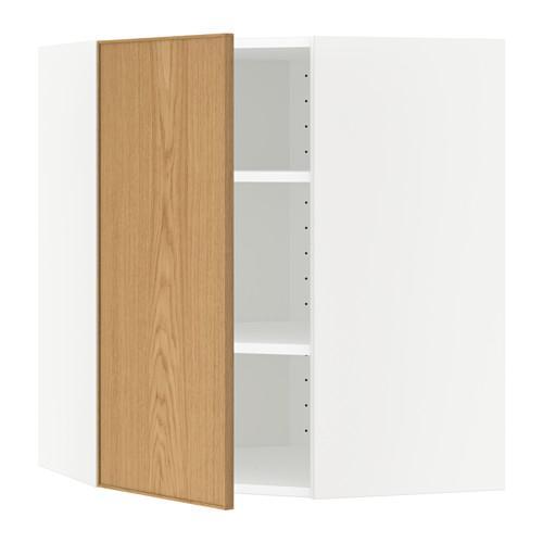 МЕТОД Угловой навесной шкаф с полками - 68x80 см, Экестад дуб, белый