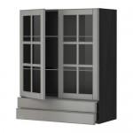 МЕТОД / МАКСИМЕРА Навесной шкаф/2 стек дв/2 ящика - 80x100 см, Будбин серый, под дерево черный