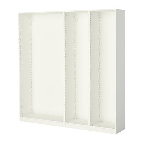 ПАКС 3 каркаса гардеробов - белый, 200x35x201 см