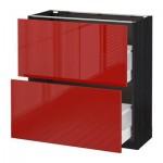 МЕТОД / МАКСИМЕРА Напольный шкаф с 2 ящиками - 80x37 см, Рингульт глянцевый красный, под дерево черный