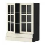 МЕТОД / ФОРВАРА Навесной шкаф/2 стек дв/2 ящика - 80x100 см, Будбин белый с оттенком, под дерево черный
