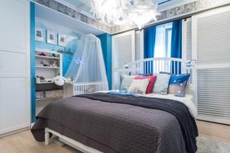 Бирюзовая бухта - интерьер спальни в морском стиле