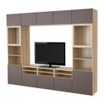 БЕСТО Шкаф для ТВ, комбин/стеклян дверцы - под беленый дуб/Вальвикен темно-коричневый, прозрачное стекло, направляющие ящика, плавно закр
