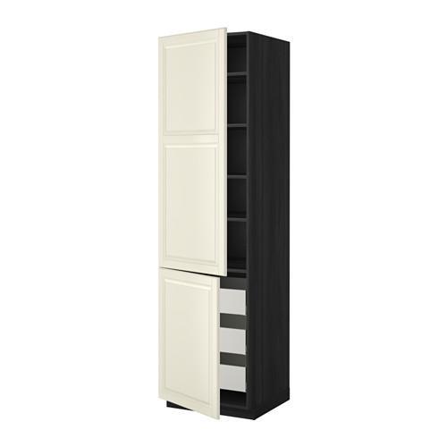 МЕТОД / МАКСИМЕРА Высокий шкаф+полки/3 ящика/2 дверцы - 60x60x220 см, Будбин белый с оттенком, под дерево черный