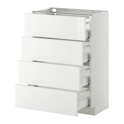 МЕТОД / МАКСИМЕРА Напольн шкаф 4 фронт панели/4 ящика - 60x37 см, Рингульт глянцевый белый, белый