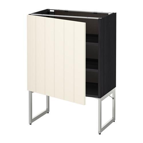 МЕТОД Напольный шкаф с полками - 60x37x60 см, Хитарп белый с оттенком, под дерево черный