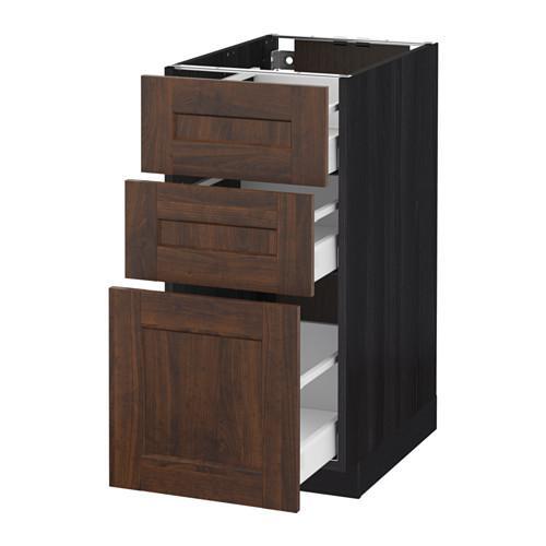 МЕТОД / МАКСИМЕРА Напольный шкаф с 3 ящиками - 40x60 см, Эдсерум под дерево коричневый, под дерево черный