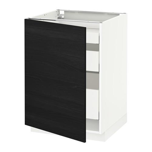 МЕТОД / МАКСИМЕРА Напольный шкаф с 1двр/3ящ - 60x60 см, Тингсрид под дерево черный, белый