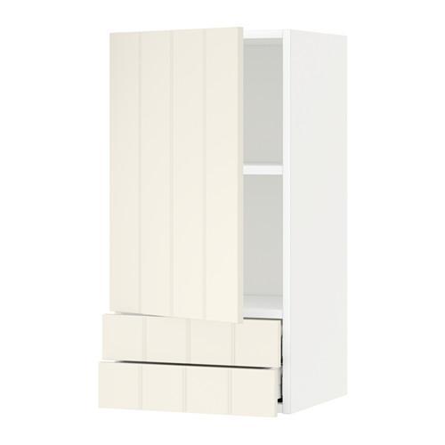 МЕТОД / МАКСИМЕРА Навесной шкаф с дверцей/2 ящика - 40x80 см, Хитарп белый с оттенком, белый