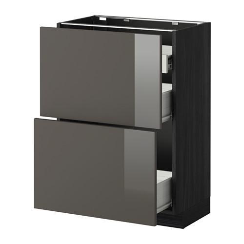 VERFAHREN / FORVARA Nap Schrank 2 FRNT PNL / 1nizk / 2sr Schubladen - Holz schwarz, glänzend grau Ringult, 60x37 cm