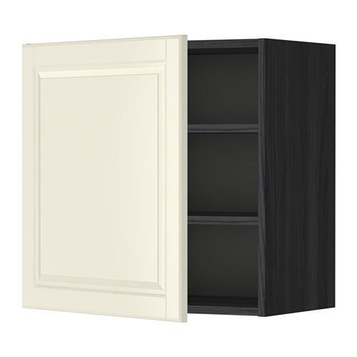 МЕТОД Шкаф навесной с полкой - 60x60 см, Будбин белый с оттенком, под дерево черный