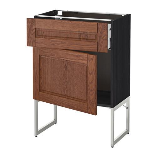 МЕТОД / МАКСИМЕРА Напольный шкаф с ящиком/дверью - 60x37x60 см, Филипстад коричневый, под дерево черный