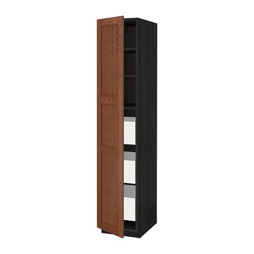 МЕТОД / МАКСИМЕРА Высокий шкаф с ящиками - под дерево черный, Филипстад коричневый, 40x60x200 см