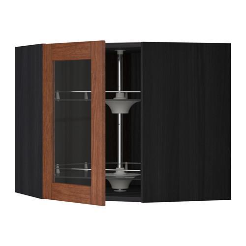 МЕТОД Углов навесн шк с врщ скц/сткл дв - 68x60 см, Филипстад коричневый, под дерево черный