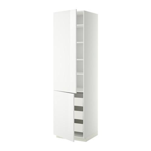 МЕТОД / МАКСИМЕРА Высокий шкаф+полки/3 ящика/2 дверцы - 60x60x220 см, Рингульт глянцевый белый, белый