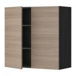 МЕТОД Навесной шкаф с полками/2дверцы - 80x80 см, Брокхульт под грецкий орех светло-серый, под дерево черный