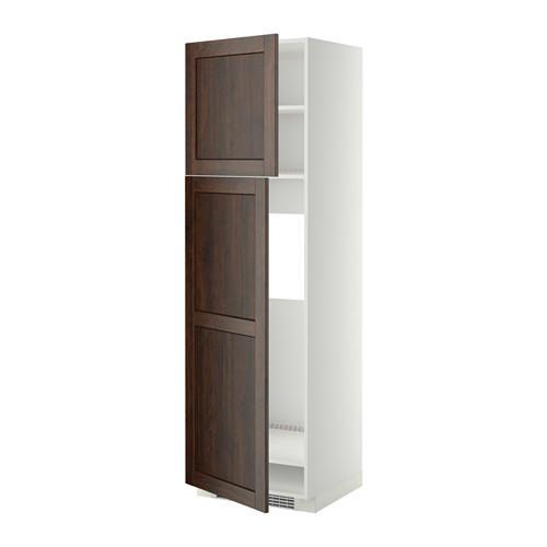 МЕТОД Высокий шкаф д/холодильника/2дверцы - 60x60x200 см, Эдсерум под дерево коричневый, белый