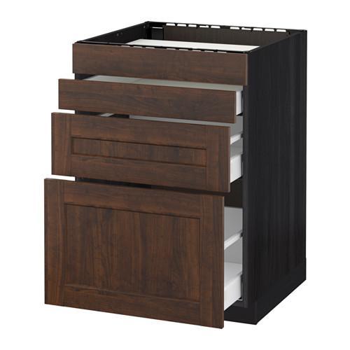 МЕТОД / МАКСИМЕРА Нап шкаф д/духовки/4фасада/3ящика - 60x60 см, Эдсерум под дерево коричневый, под дерево черный