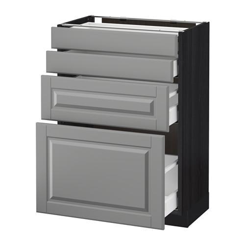 МЕТОД / МАКСИМЕРА Напольн шкаф 4 фронт панели/4 ящика - 60x37 см, Будбин серый, под дерево черный
