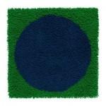 БАРБРУ Ковер, длинный ворс - зеленый/синий
