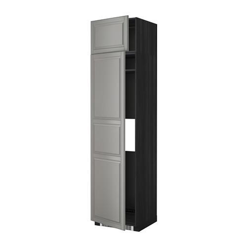 МЕТОД Выс шкаф д/холодильн или морозильн - 60x60x240 см, Будбин серый, под дерево черный