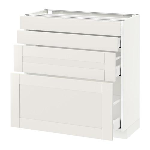 МЕТОД / МАКСИМЕРА Напольн шкаф 4 фронт панели/4 ящика - 80x37 см, Сэведаль белый, белый