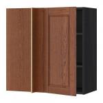 МЕТОД Угловой навесной шкаф с полками - под дерево черный, Филипстад коричневый, 88x37x80 см