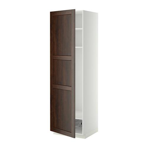 МЕТОД Выс шкаф с полками/проволоч корзин - 60x60x200 см, Эдсерум под дерево коричневый, белый