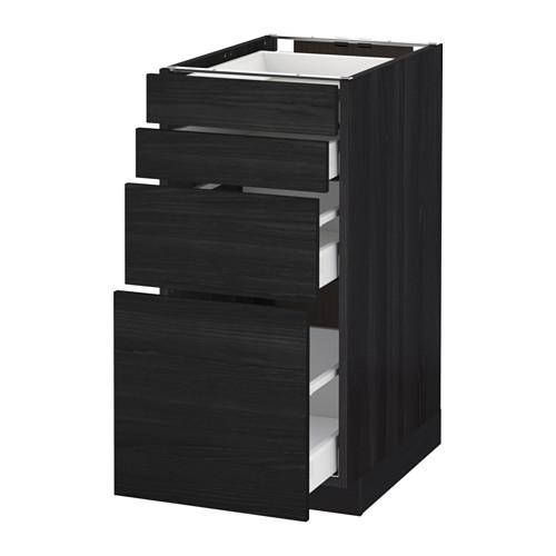 МЕТОД / МАКСИМЕРА Напольн шкаф 4 фронт панели/4 ящика - 40x60 см, Тингсрид под дерево черный, под дерево черный