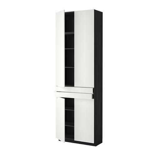 МЕТОД / МАКСИМЕРА Высокий шкаф+полки/2 ящика/4 дверцы - Хэггеби белый, под дерево черный