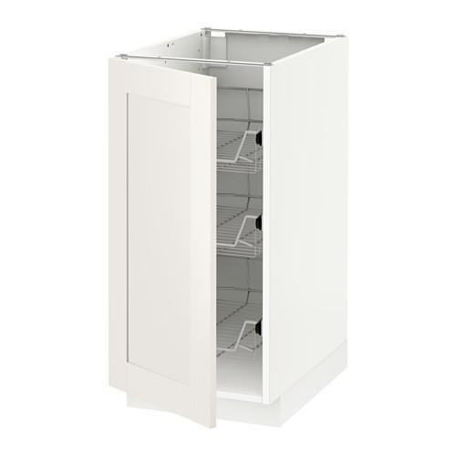 МЕТОД Напольный шкаф с проволочн ящиками - 40x60 см, Сэведаль белый, белый