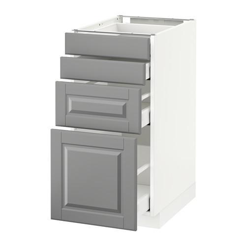 МЕТОД / МАКСИМЕРА Напольн шкаф 4 фронт панели/4 ящика - 40x60 см, Будбин серый, белый