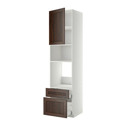 МЕТОД / МАКСИМЕРА Высок шкаф д/духовки/СВЧ/дверца/2ящ - 60x60x240 см, Эдсерум под дерево коричневый, белый