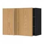 МЕТОД Угловой навесной шкаф с полками - под дерево черный, Экестад дуб, 88x37x60 см