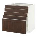 МЕТОД / ФОРВАРА Напольный шкаф с 5 ящиками - 80x60 см, Эдсерум под дерево коричневый, белый