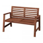 ÄPPLARÖ garden bench with backrest wood stain 117x65x80 cm