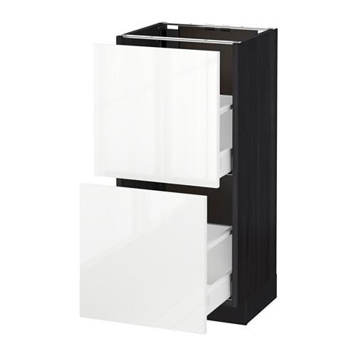 МЕТОД / МАКСИМЕРА Напольный шкаф с 2 ящиками - 40x37 см, Рингульт глянцевый белый, под дерево черный