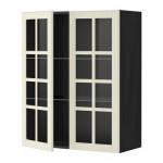 МЕТОД Навесной шкаф с полками/2 стекл дв - 80x100 см, Будбин белый с оттенком, под дерево черный