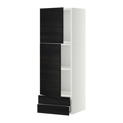МЕТОД / МАКСИМЕРА Навесной шкаф/2дверцы/2ящика - 40x120 см, Тингсрид под дерево черный, белый