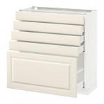 МЕТОД / МАКСИМЕРА Напольный шкаф с 5 ящиками - 80x37 см, Будбин белый с оттенком, белый