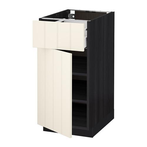 МЕТОД / МАКСИМЕРА Напольный шкаф с ящиком/дверью - 40x60 см, Хитарп белый с оттенком, под дерево черный